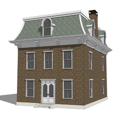 Curved mansard roof for Mansard roof section