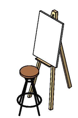 art easel with stool