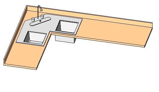 Object Counter Top L Shaped W Corner Sink