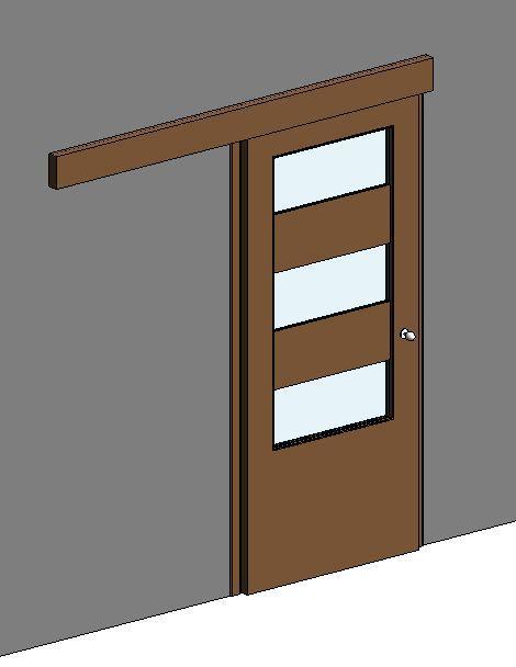 RevitCity.com | Object | Internal Sliding Door - 3 vision panels on