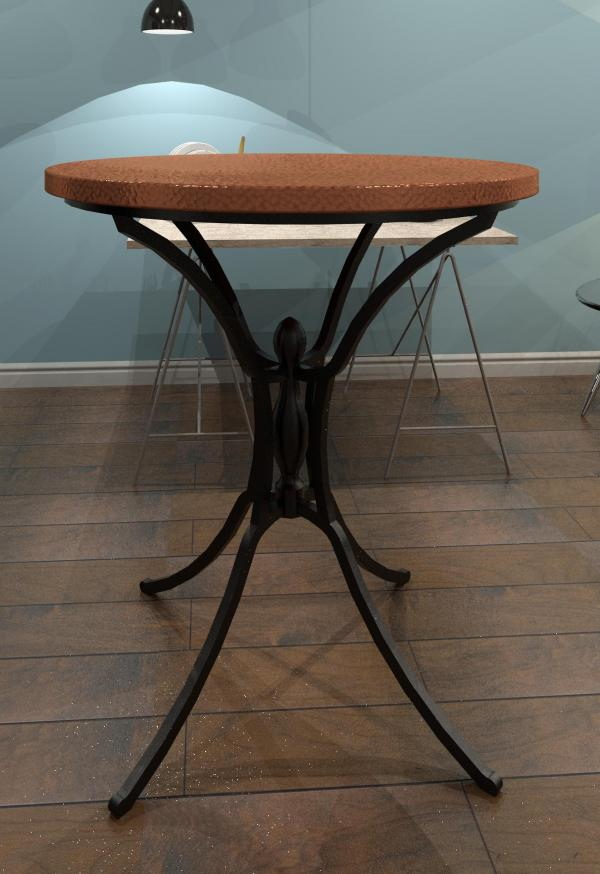 Charming Hammered Style Copper Bar Table