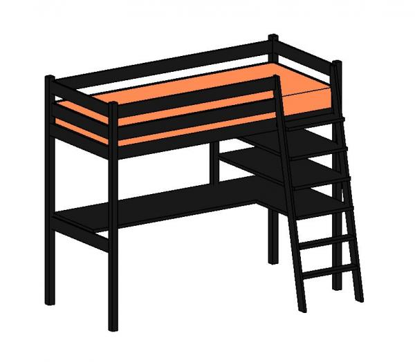a revised ikea stora loft bed with desk