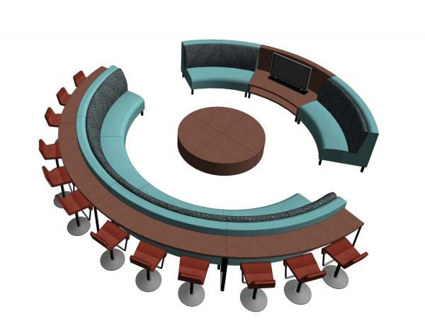Modular Circular Sofa With Dining Table, Coffee Table And Entertainment  Center