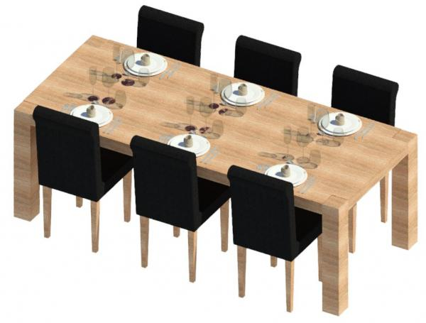 Revitcity object dinner table with set and