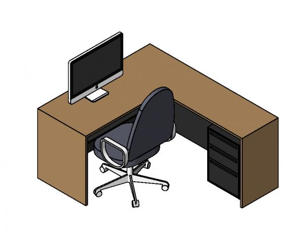 RevitCity com | Object | L-shaped office desk