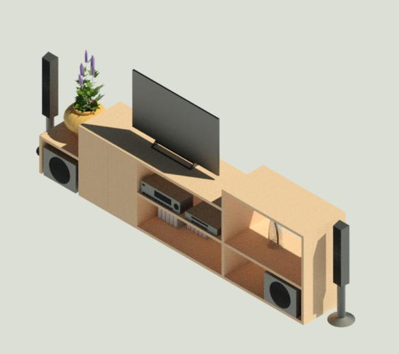 Television Table with Tv