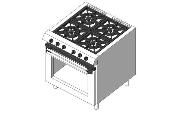 RevitCity.com | Object | Generic 4 burner stove with grill & oven under