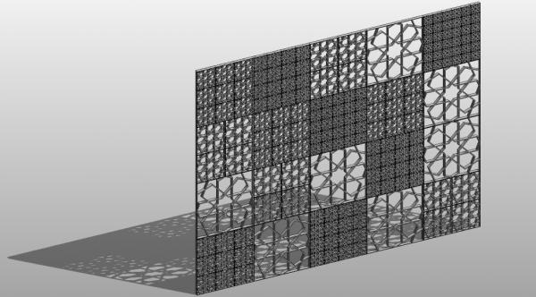 Curtain wall panel pattern based star shaped
