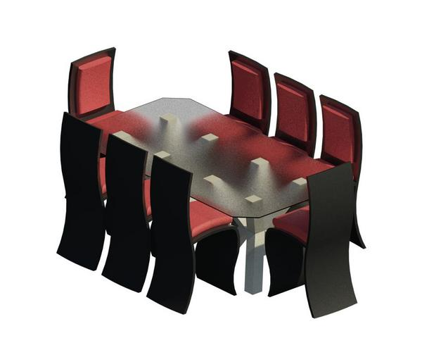Dining table revit chairs