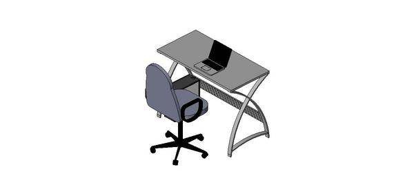 RevitCity com | Object | Computer desk with laptop and chair
